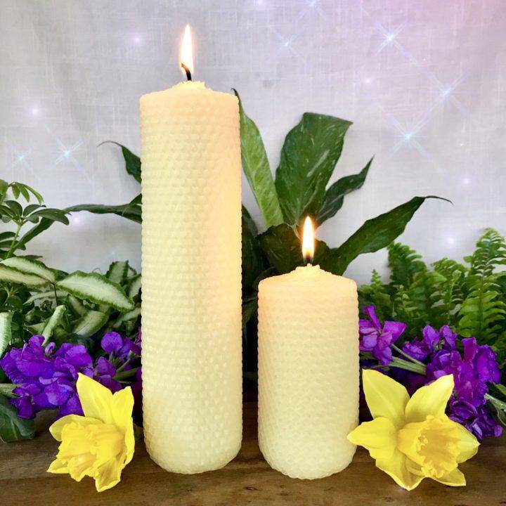 Golden Beeswax Altar Intention Candle