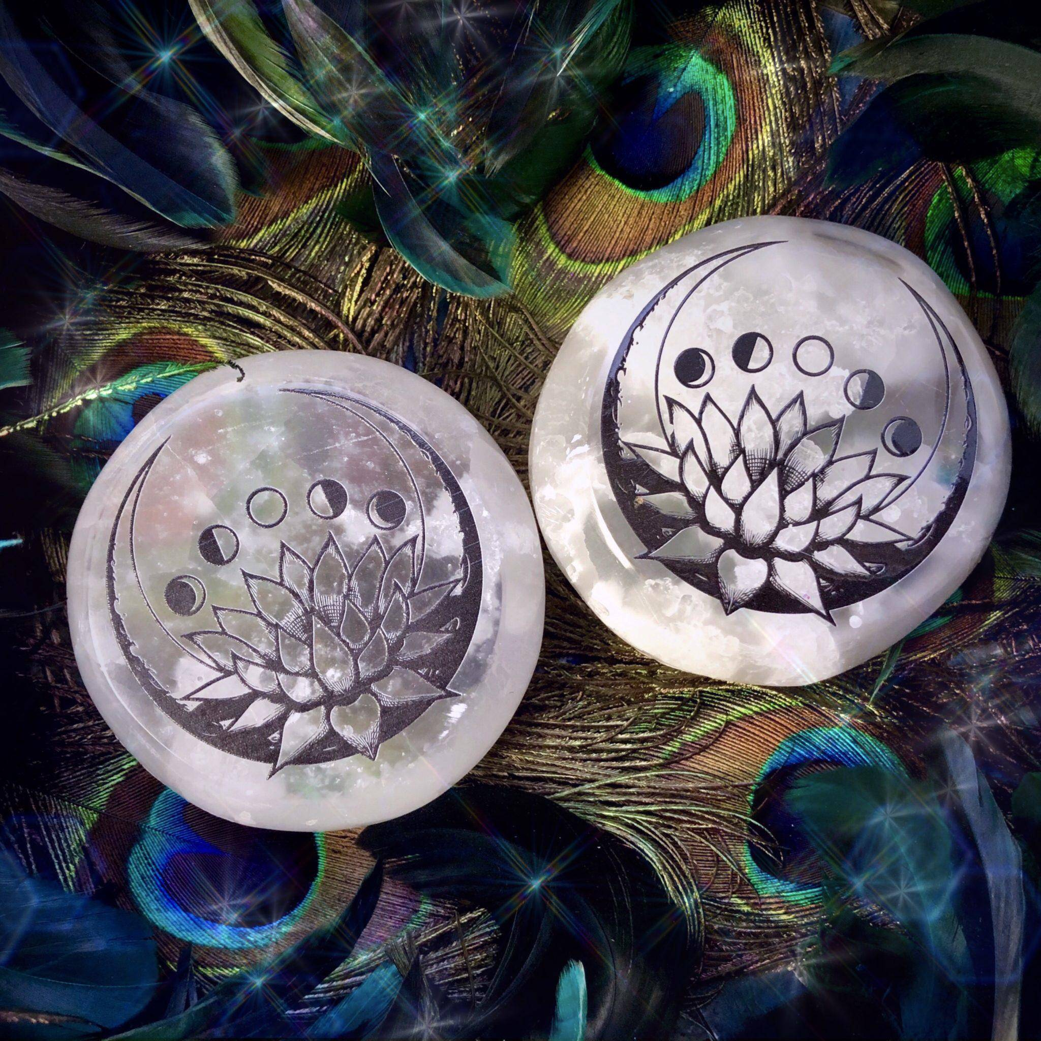 Lotus Moon Phase Printed Selenite for clarity and peace during all phases  of the moon