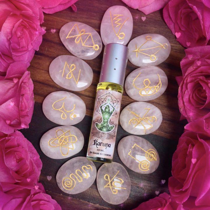 Rose Quartz Karuna Set with Karuna Perfume