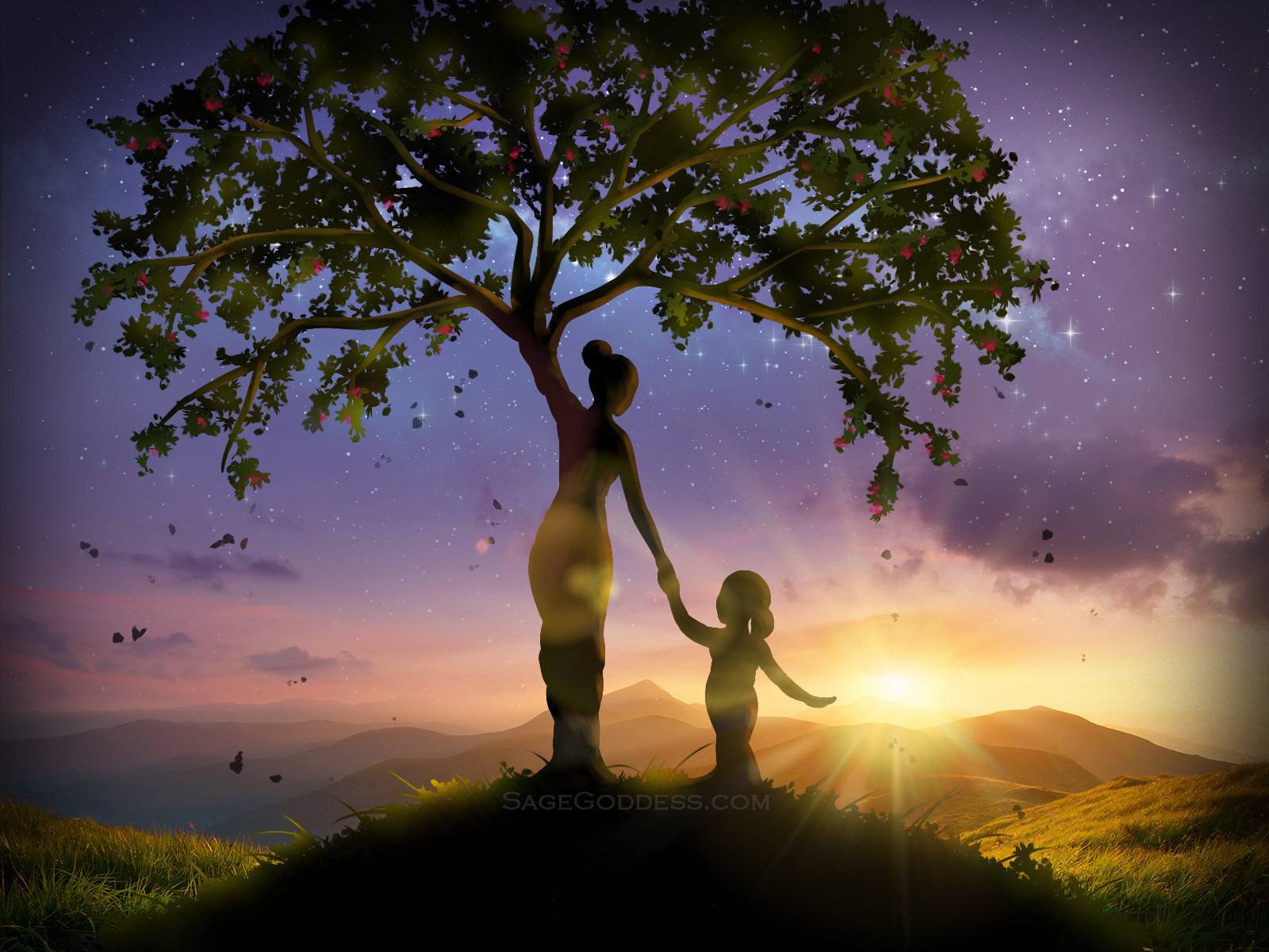 Free Custom Sage Goddess Downloadable Tree Of Life Wallpaper