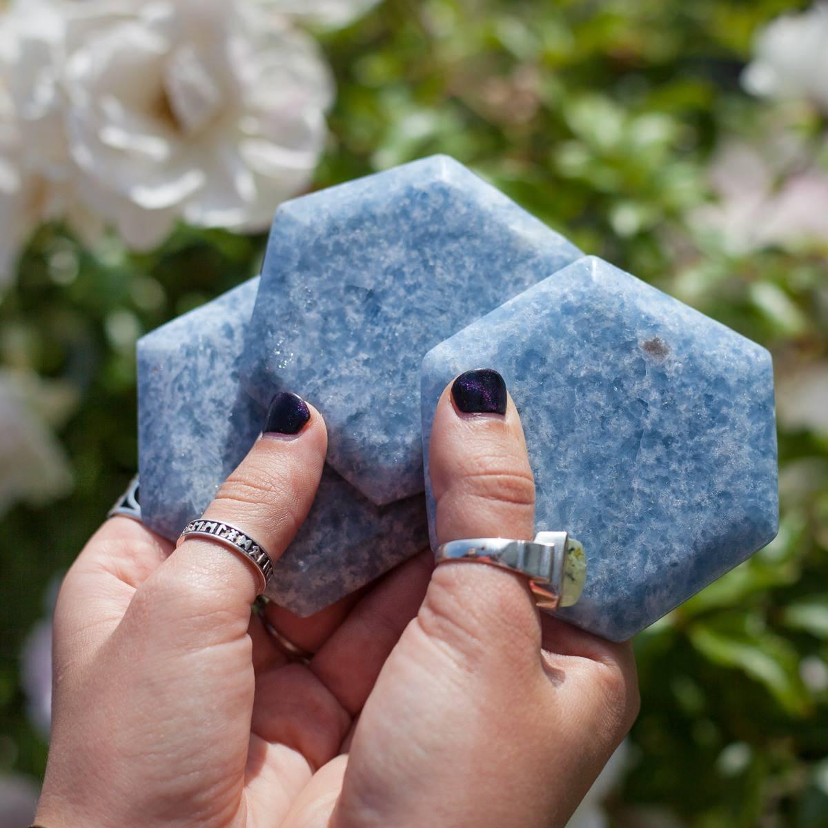 Blue Calcite Hexagon 6_20 Secondary