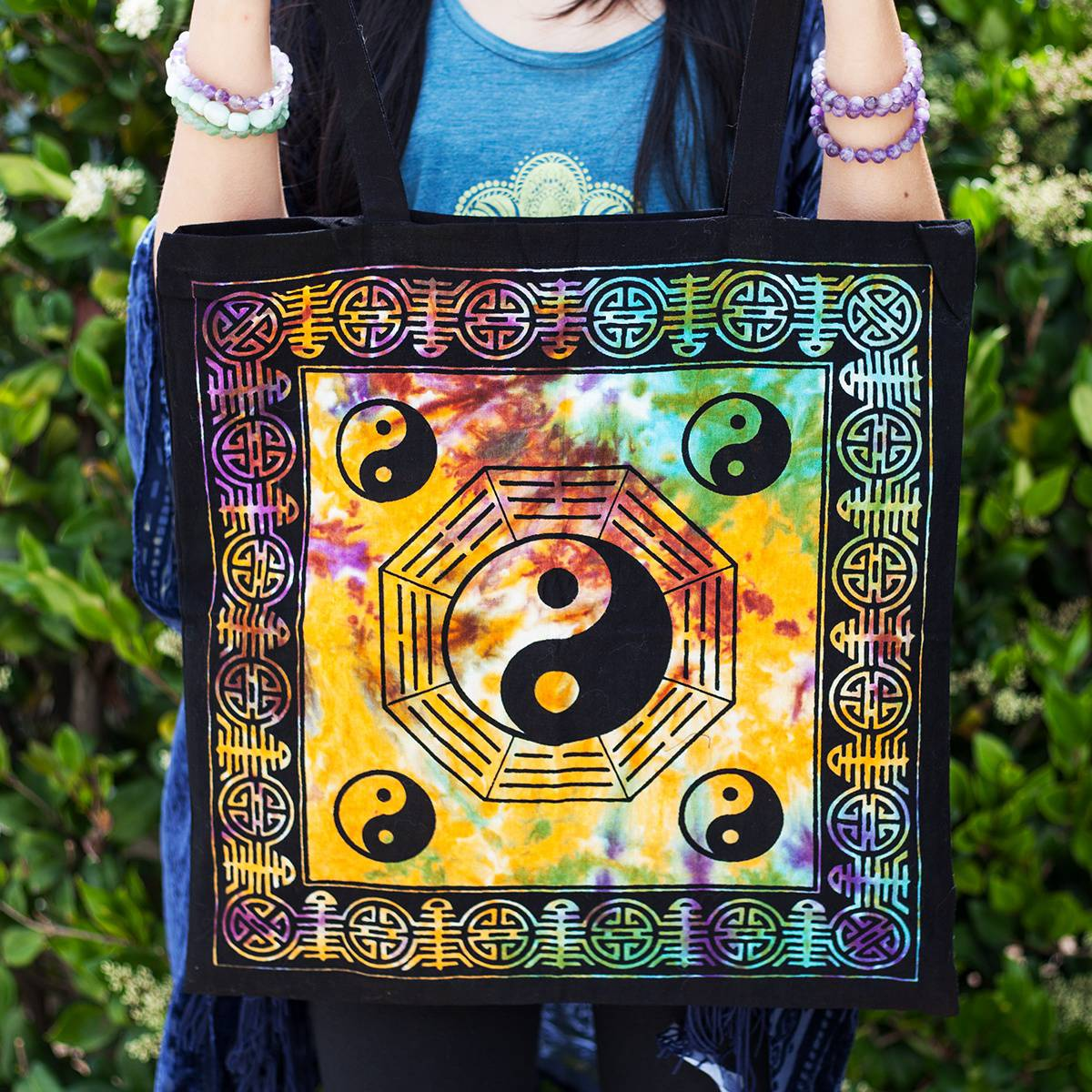 4ce719809 Yin Yang Tie Dye Tote Bags for balance and stylish goddess adornment