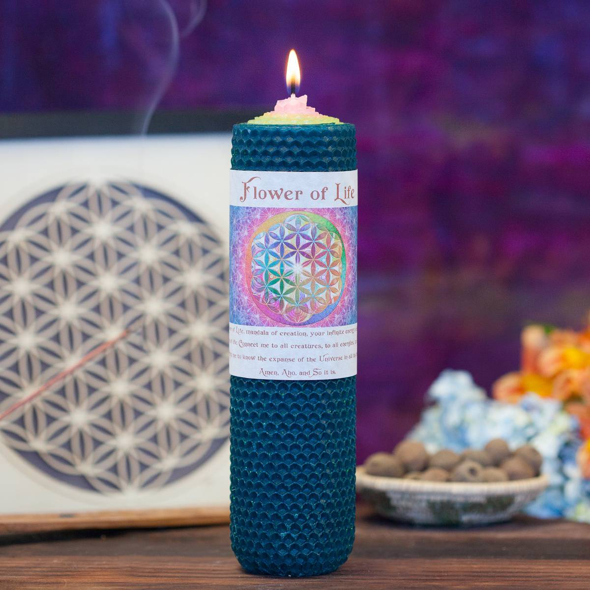 Flower of Life Intention Candle