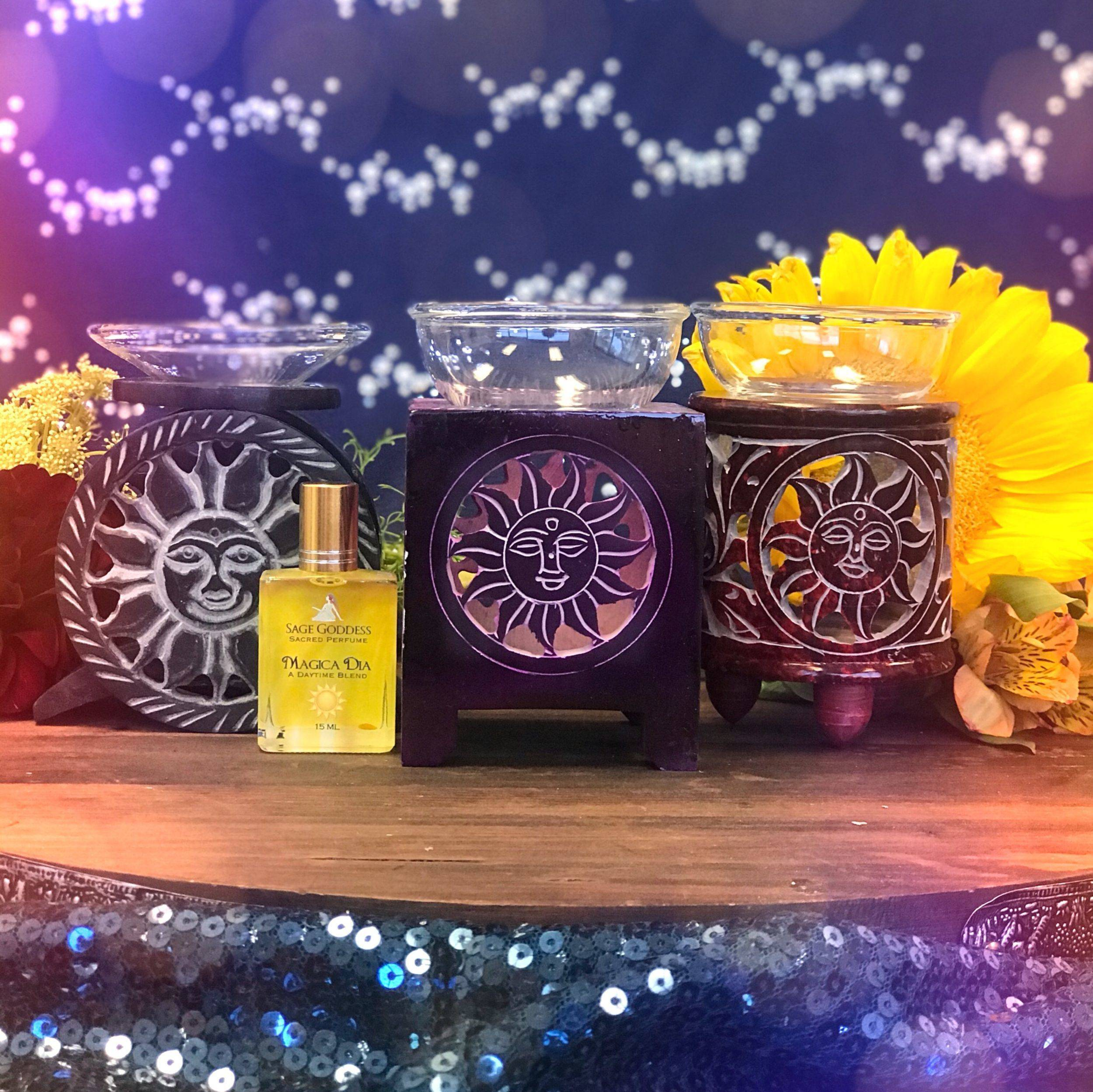 Sun_Soapstone_Oil Burner_with_a_free_gift_of_Magica_Dia_Perfume_1of3_7_24