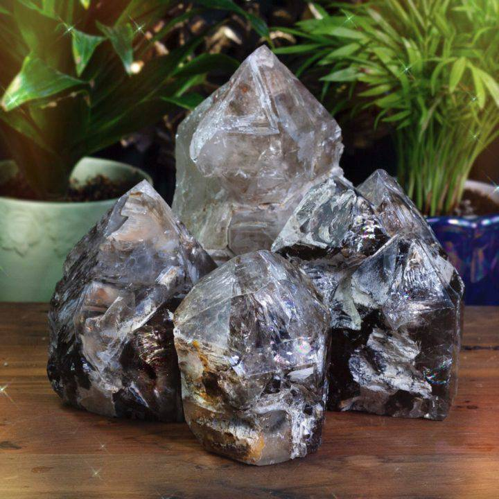Skeletal Elestial Smoky Quartz Generators