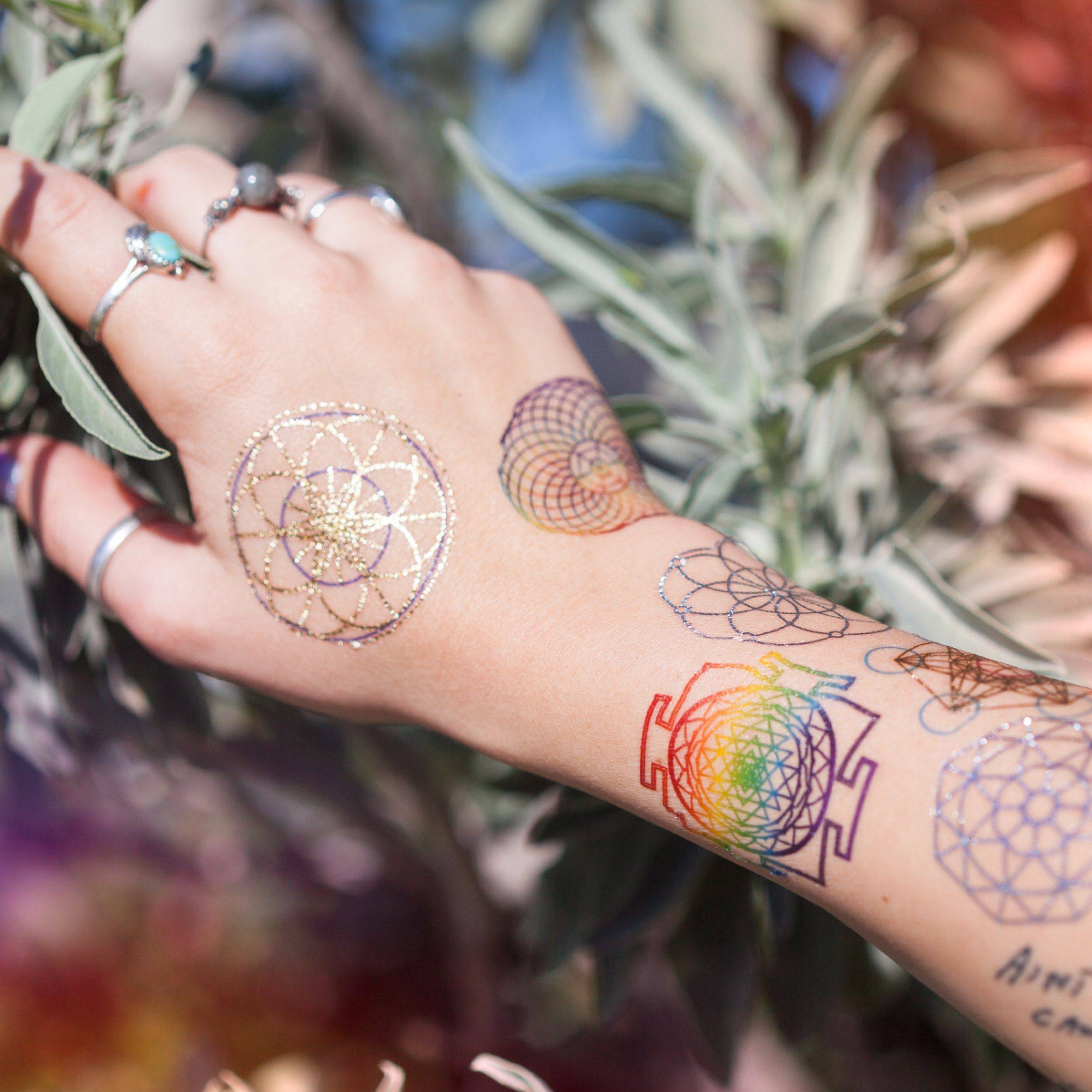 Sacred Geometry Tattoo Trio For Beauty Connection And Goddess Adornment