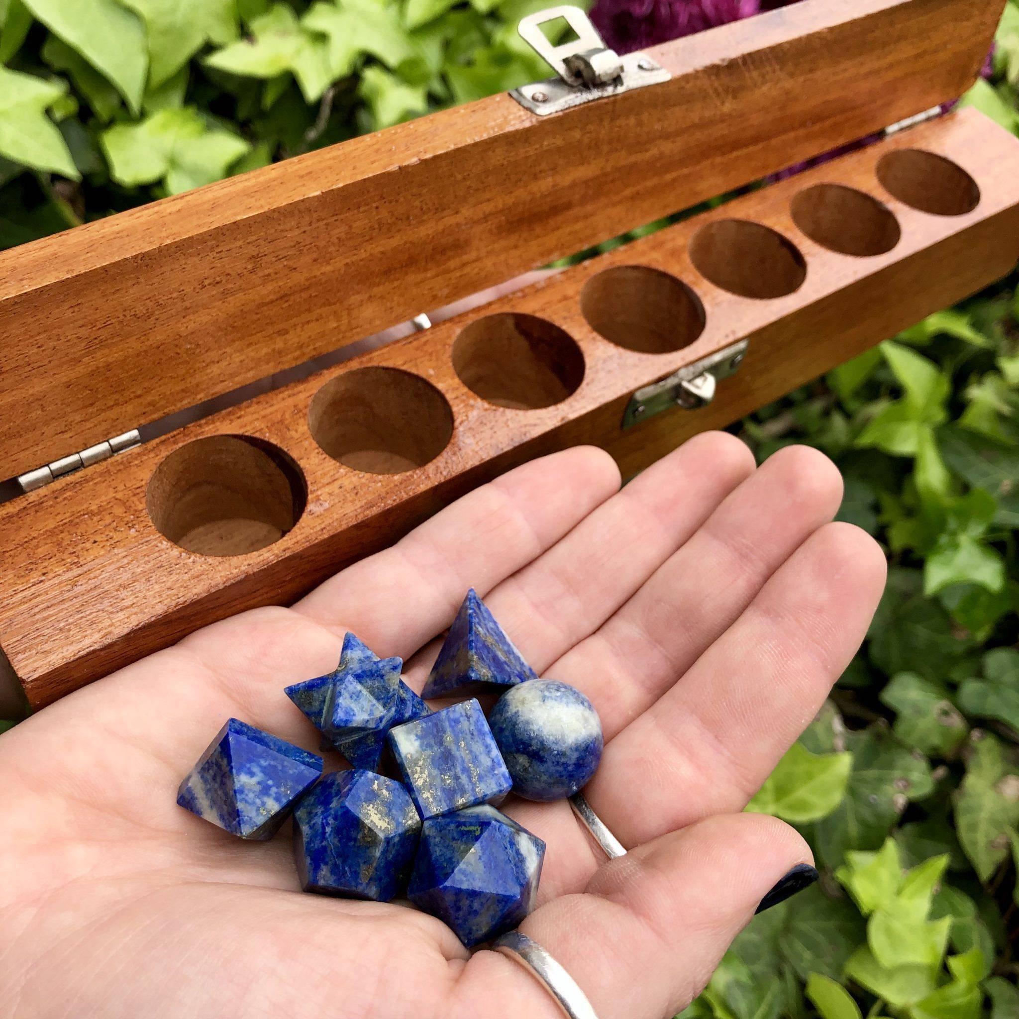 Specimen Lapis Lazuli Sacred Geometry Set In Wooden Box