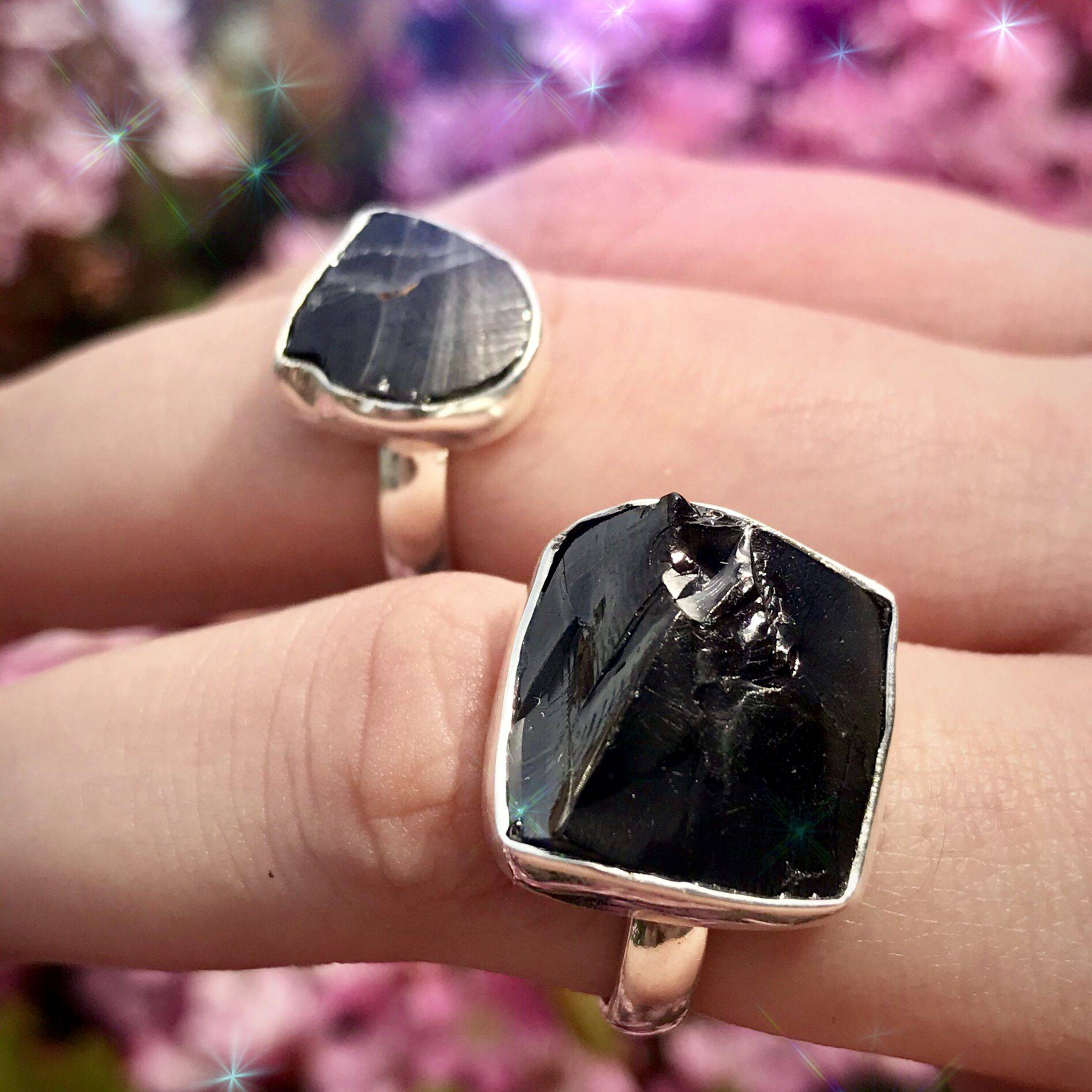 Shungite rings for purification, truth-telling, and spiritual light