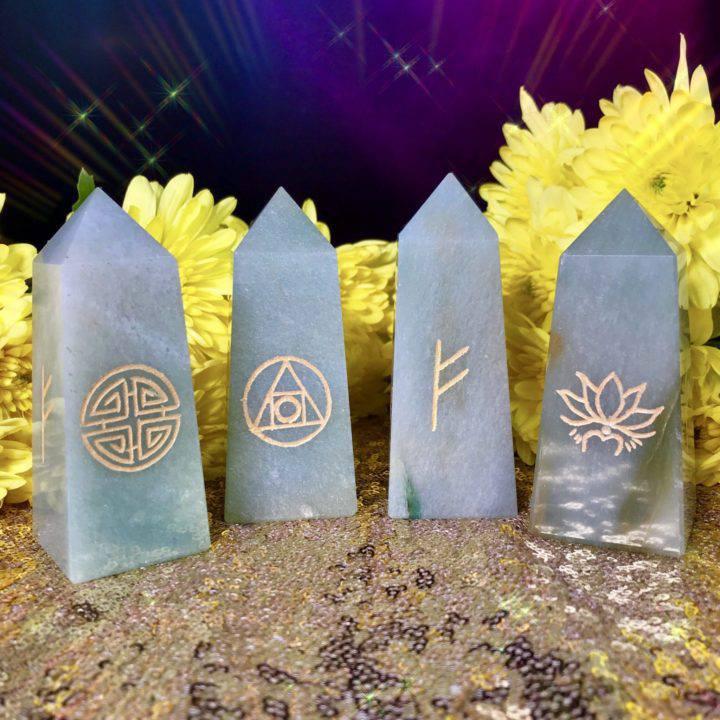 Prosperity and Good Fortune Green Aventurine Obelisks