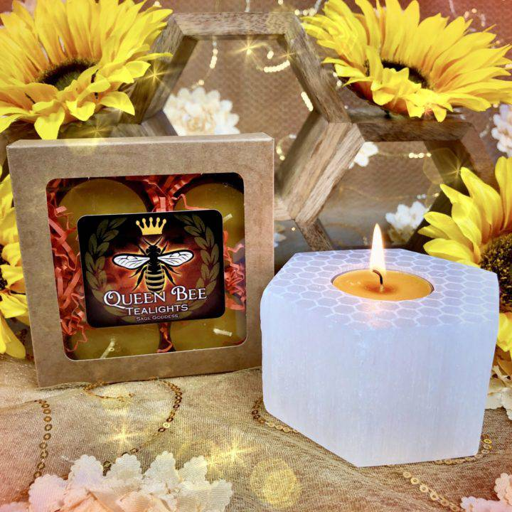 Welcome_to_the_Hive_Engraved_Selenite_Tea_Light_Holders_with_Queen_Bee_Tealights_5of5_5_21