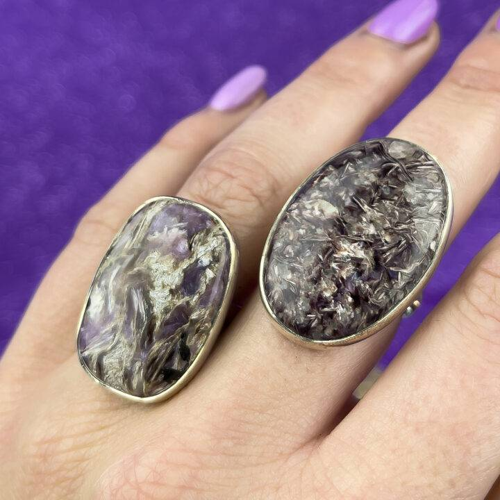 Charoite Sterling Silver Adjustable Ring