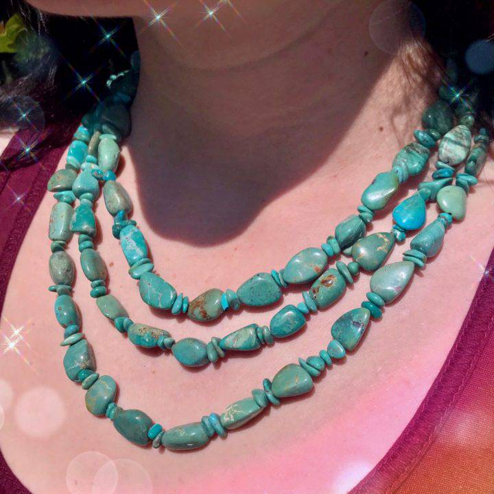 Protective Pachamama Turquoise Necklaces anointed with fossilized Amber Essential Oil_8_3_2of3