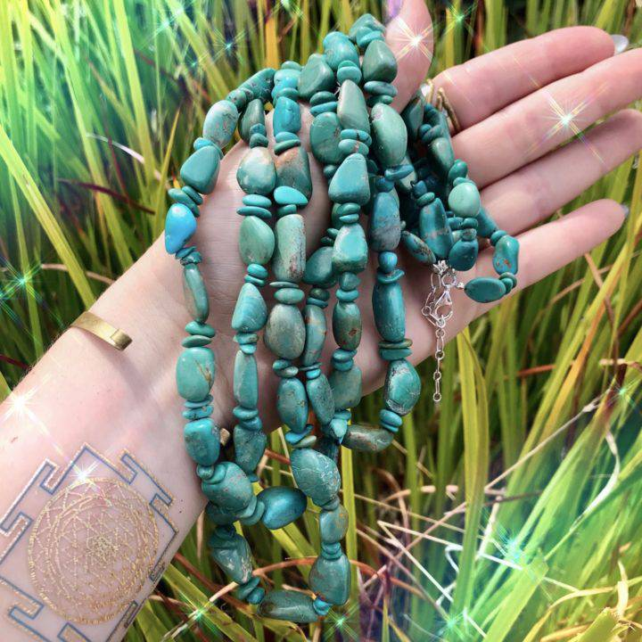 Protective Pachamama Turquoise Necklaces anointed with fossilized Amber Essential Oil_8_3_3of3