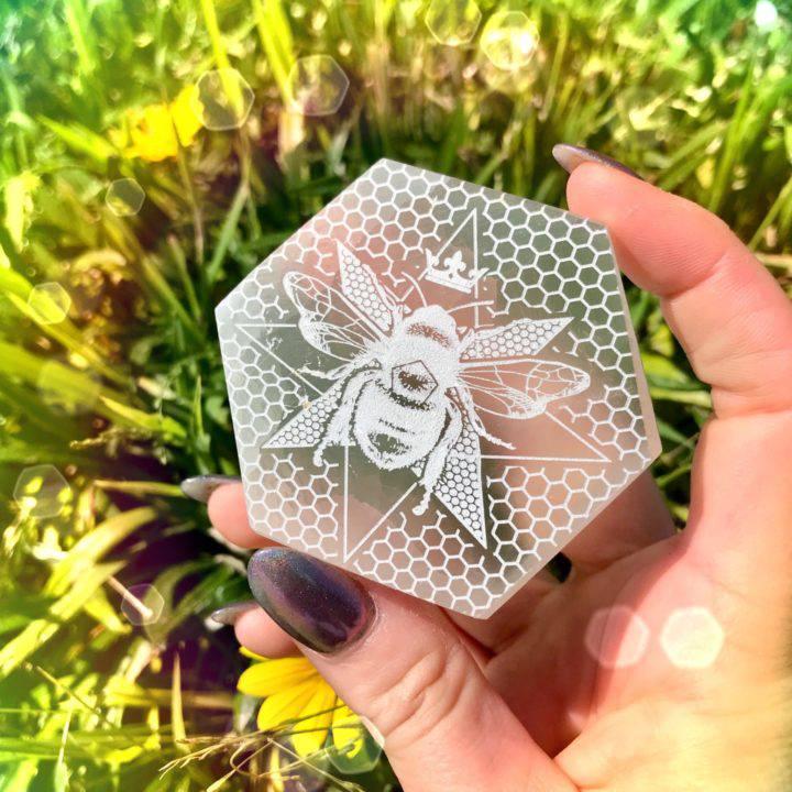 Queen Bee Engraved Selenite_8_1_2of3