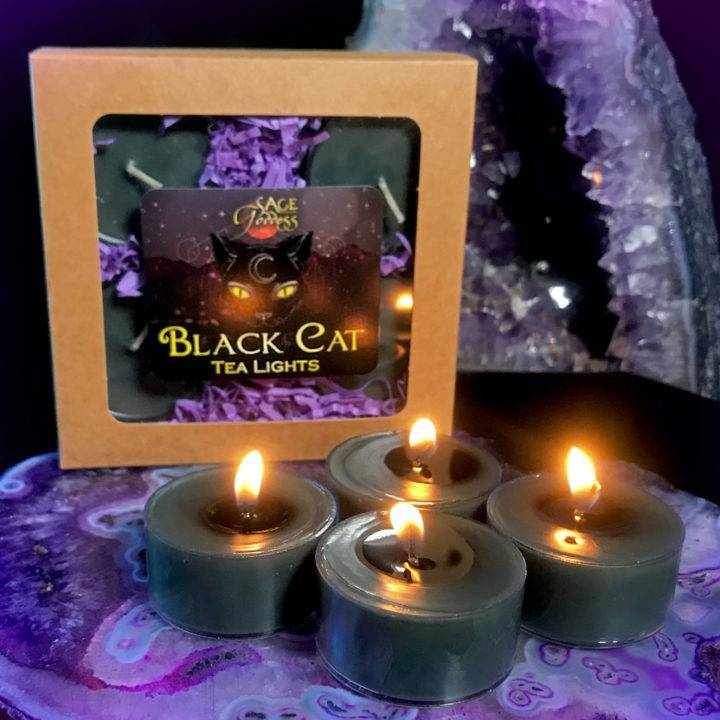 Black Cat Intention Tea Lights