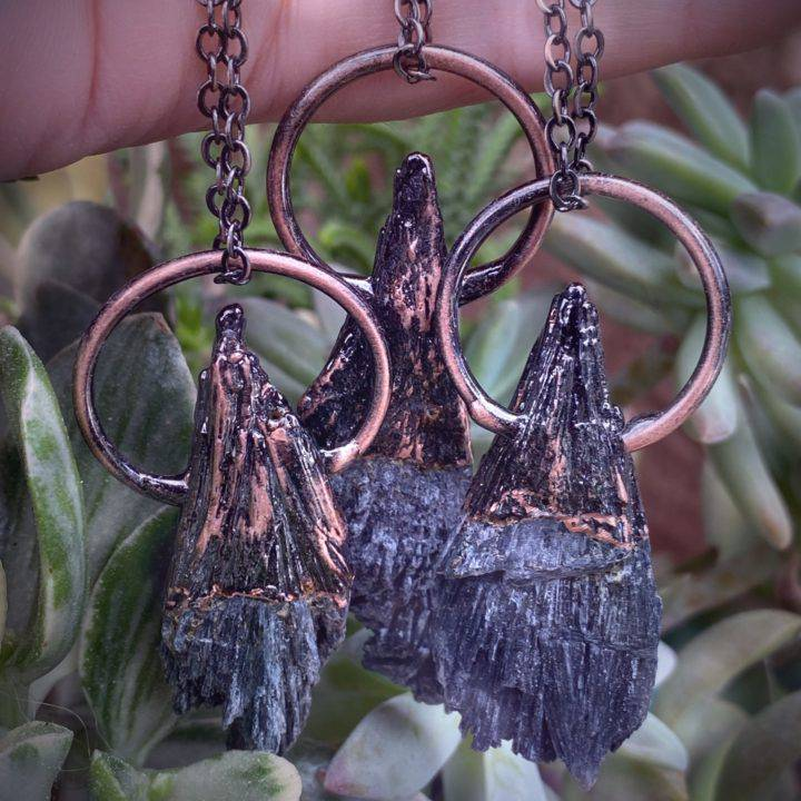 Black Kyanite and Copper Clearing Necklaces