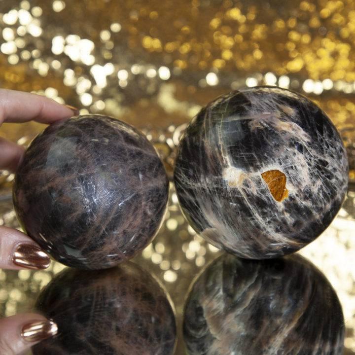 Black Moonstone Spheres