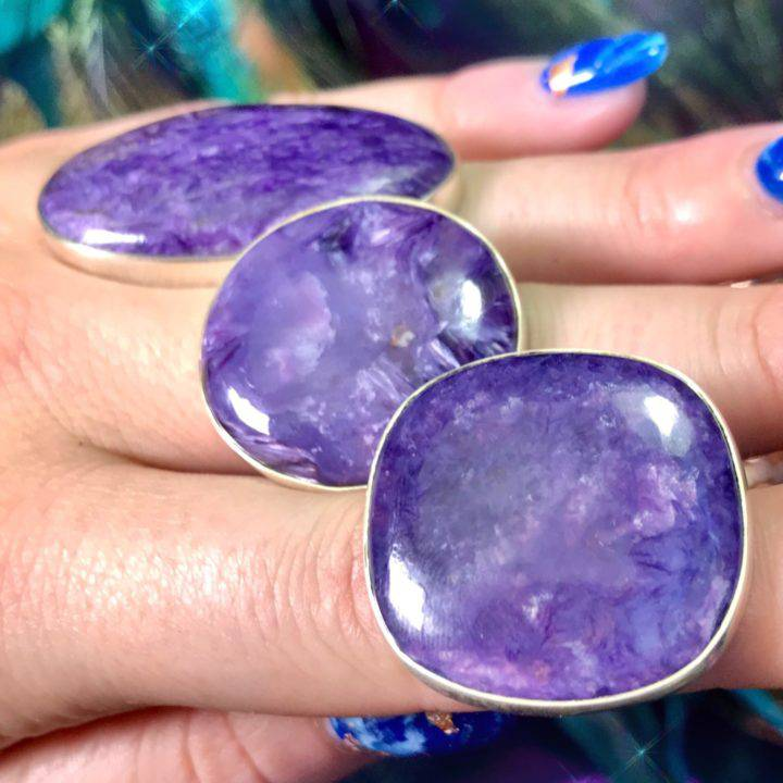 Courageous Warrior Charoite Rings