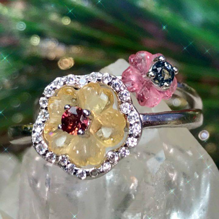 Floral Enchantment Tourmaline Adjustable Rings DD_1of4_11_28