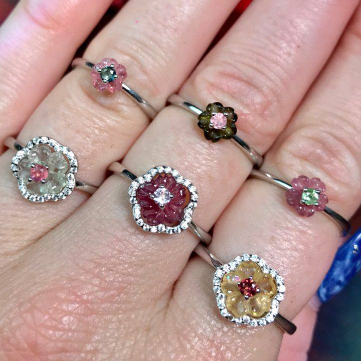 Floral Enchantment Tourmaline Adjustable Rings DD_2of4_11_28