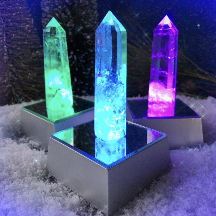 Glowing Rainbow Magic Clear Quartz Generators with Lightbox