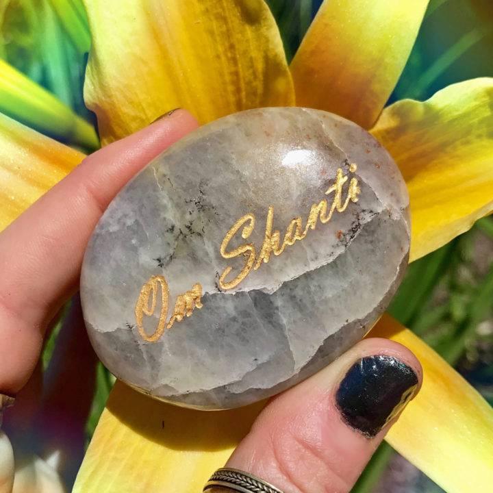 Om Shanti Iolite Palm Stones