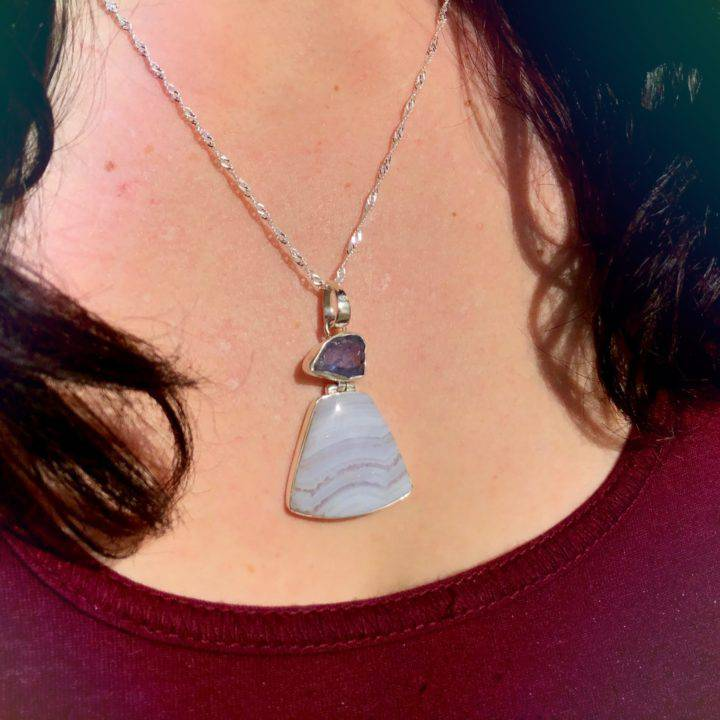 Intuitive Awakening Blue Lace Agate and Tanzanite Pendants 2of3_11_28