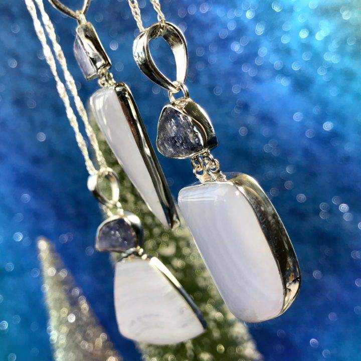 Intuitive Awakening Blue Lace Agate and Tanzanite Pendants 3of3_11_28