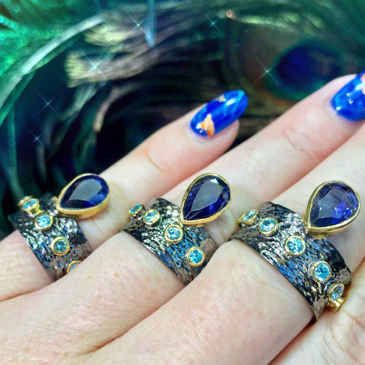Iolite and Blue Topaz Clairvoyant Visioning Rings