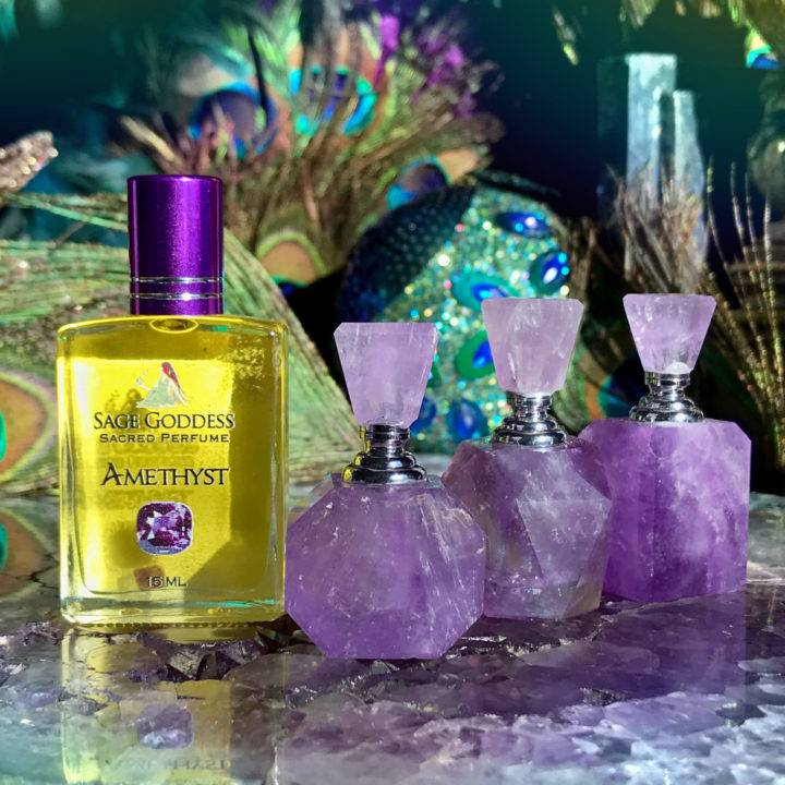 Peace and Harmony Amethyst Perfume Bottles with Amethyst Perfume