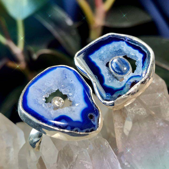 Priestess Blue Agate Rings