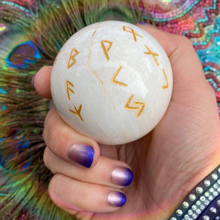 Scolecite Channeling Rune Spheres