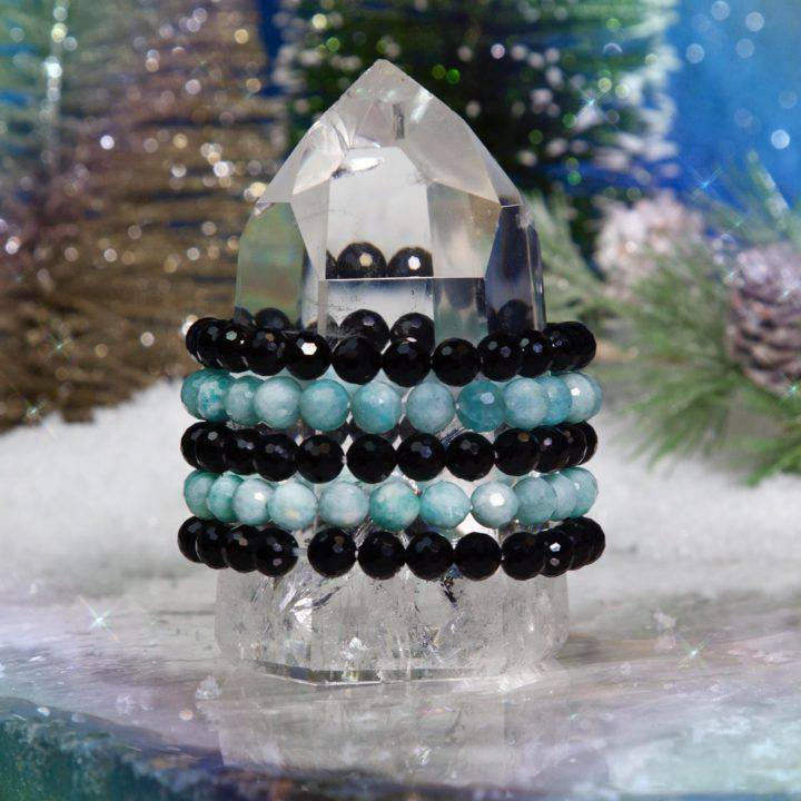 Speak Your Truth Amazonite and Black Agate Stackers