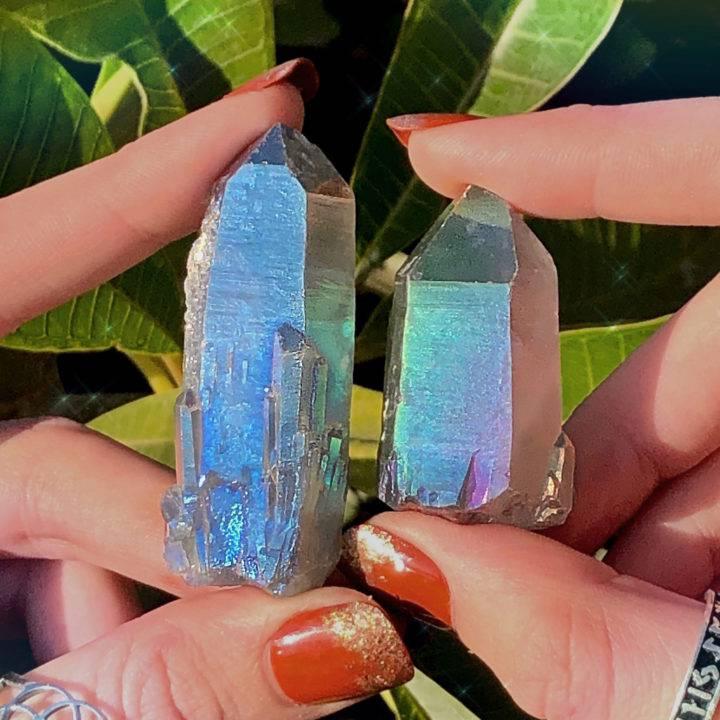 Tanzine Aura Quartz Psychic Connection Crystals