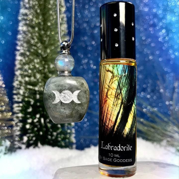 Triple Moon Goddess Labradorite Apothecary Necklaces with New Labradorite Perfume
