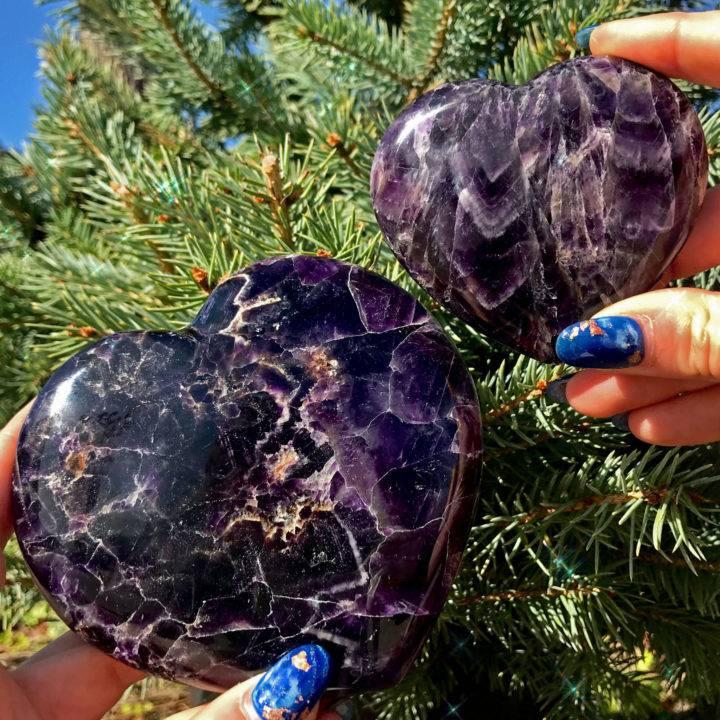Violet Flame Moroccan Amethyst Hearts