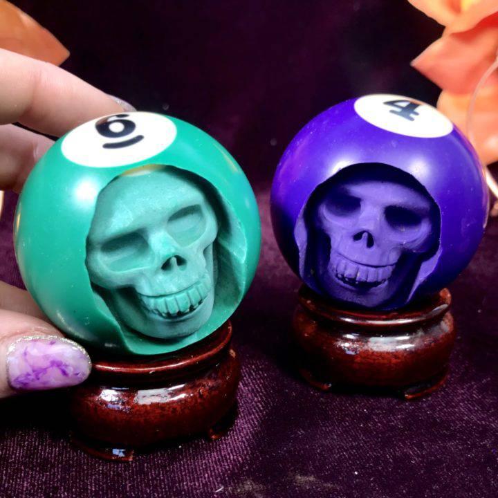 Billiard Ball Skull Carvings