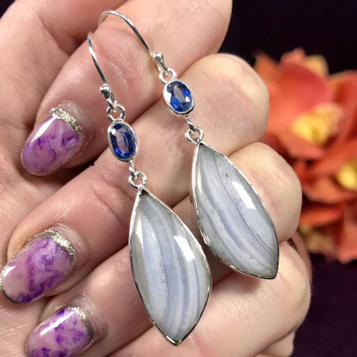 Blue Lace Agate and Blue Kyanite Earrings