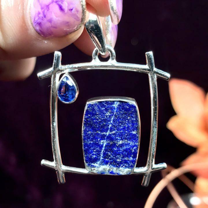 Rough Lapis with Blue Kyanite Pendants
