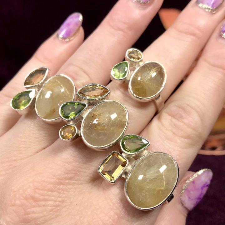 Golden Rutilated Quartz Peridot and Citrine Rings