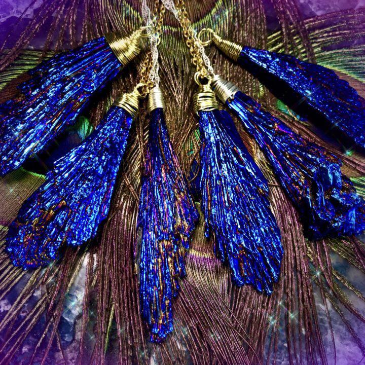 Blue Peacock Rainbow Aura Kyanite Pendants
