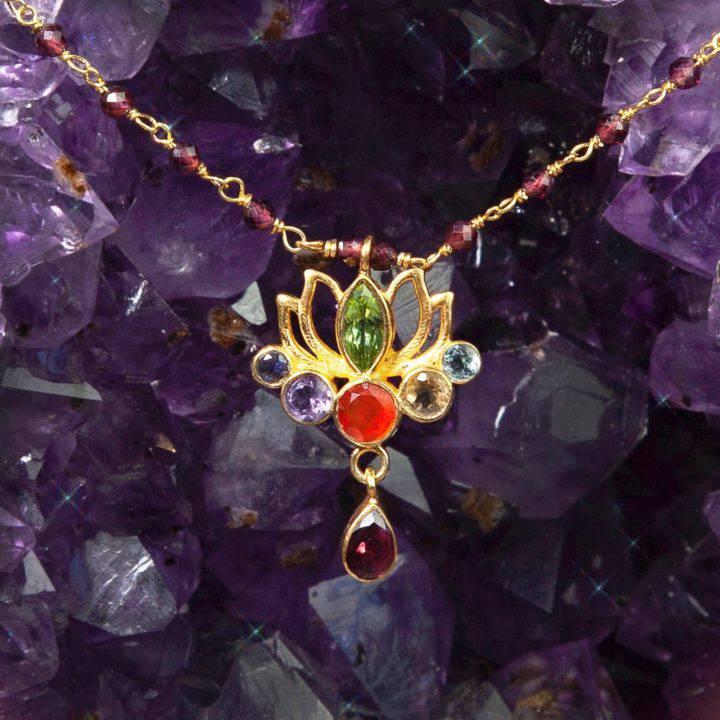 Gemstone Lotus Flower Pendants