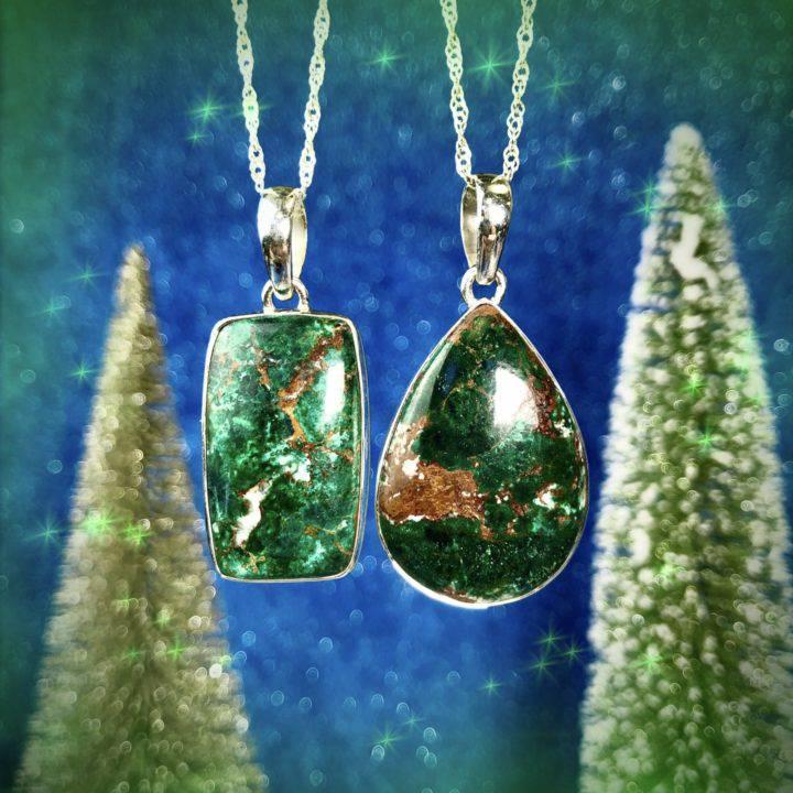 Desert Healing Sonora Sunrise Chrysocolla and Cuprite Pendants