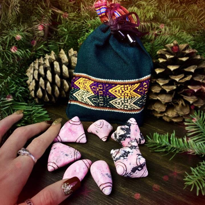 Heart Wisdom Rhodonite Chumpi Stones