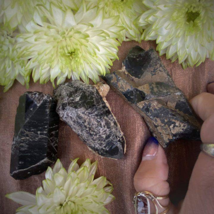 Natural Morion Smoky Quartz Points