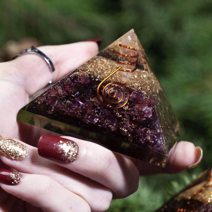 I Am Safe Garnet Orgonite Pyramids
