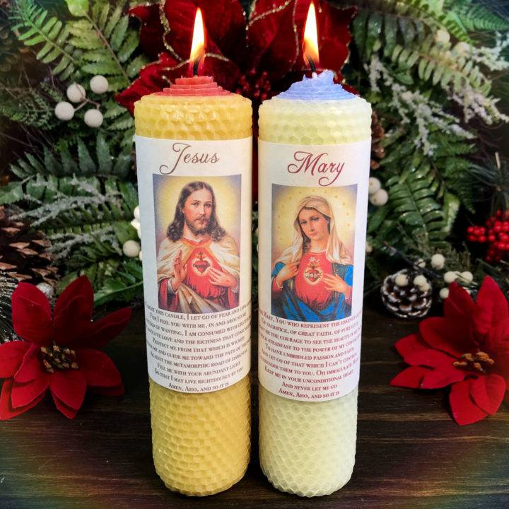 Jesus and Mary Beeswax Intention Candle Duo
