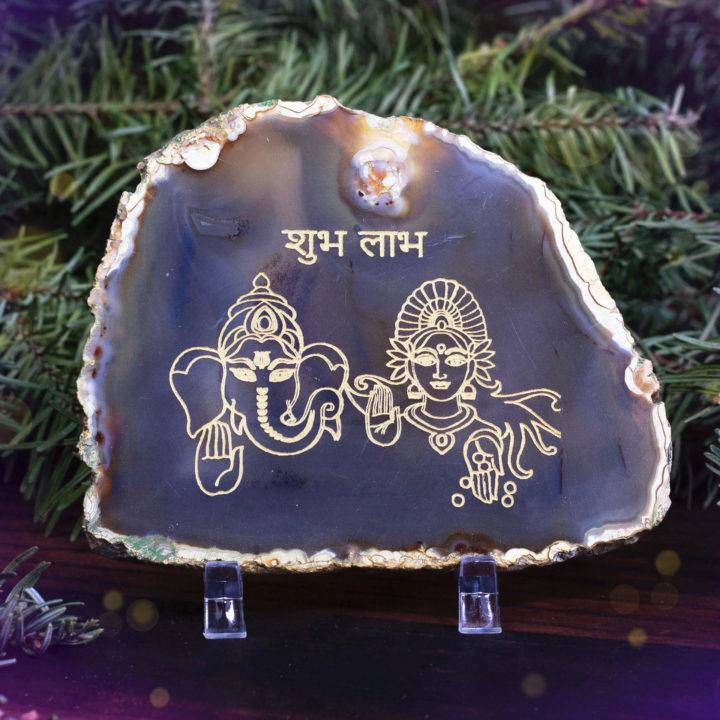 New Decade Ganesha and Lakshmi Agate Plaques