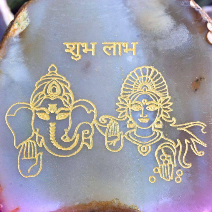 New Decade Ganesha and Lakshmi Agate Plaques