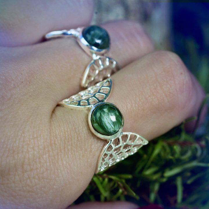 Seraphinite Sterling Silver Celestial Rings